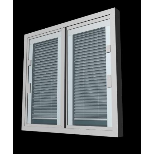 Wellingtan หน้าต่างไวนิล กระจกสองชั้นพร้อมมูลี่และมุ้ง ขนาด 1200x1100mm  KWB1211-2P สีขาว
