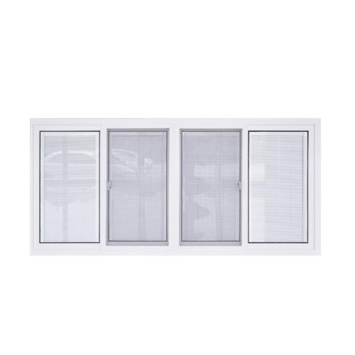 - หน้าต่างไวนิล กระจกสองชั้นพร้อมมูลี่และมุ้งขนาด 2400x1100mm KWB2411-4P  สีขาว
