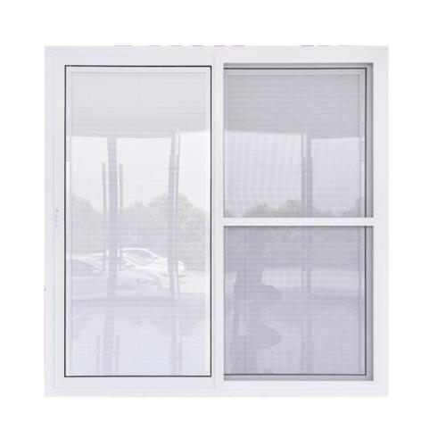WELLINGTAN ประตูไวนิลกระจกสองชั้นพร้อมมูลี่และมุ้ง ขนาด 2000x2050mm KDB2020-2P  สีขาว