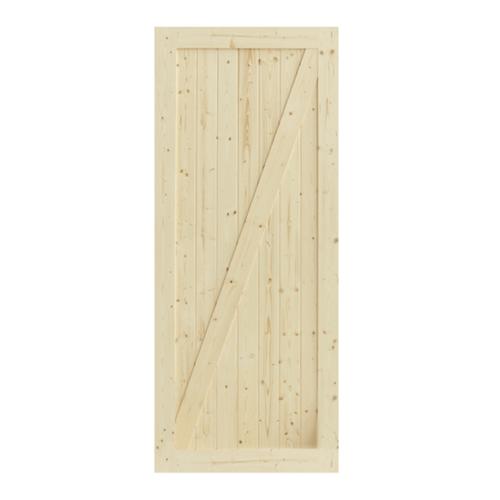 GREAT WOOD ประตูไม้สน บานทึบทำร่อง ขนาด 80x200ซม. PW-SK07-1G  สีน้ำตาลอ่อน