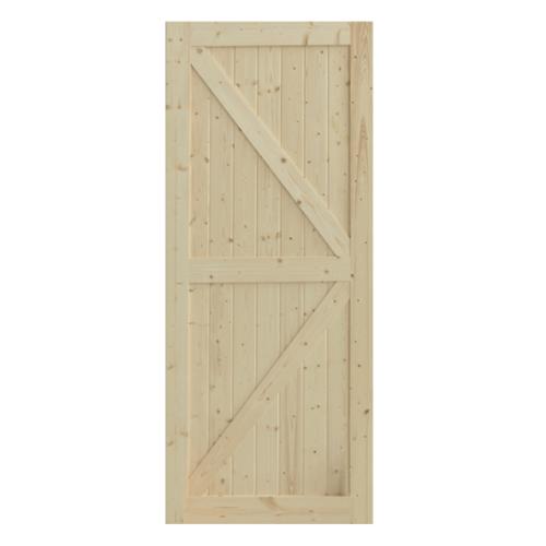 GREAT WOOD  ประตูไม้สน บานทึบทำร่อง ขนาด 80x200x3.2ซม. PW-SK09G สีน้ำตาลอ่อน