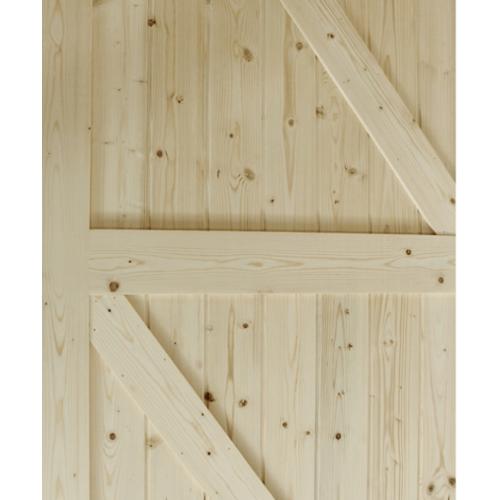 GREAT WOOD  ประตูไม้สน บานทึบทำร่อง ขนาด 80x200ซม. PW-SK10G