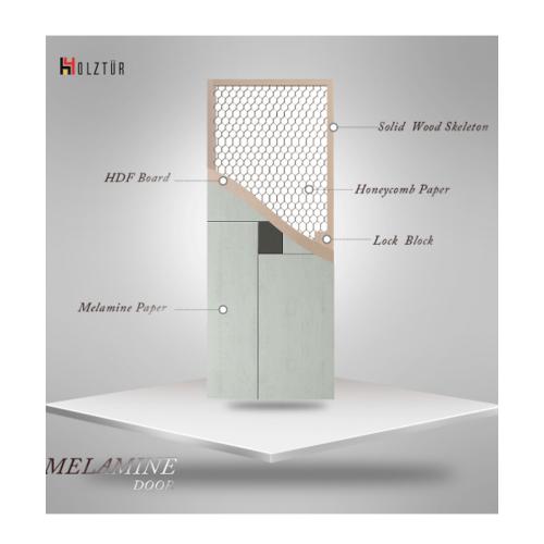 HOLZTUR ประตูเมลามีน 80x200ซม. MD-F01-3 สีเทา-เทาดำ