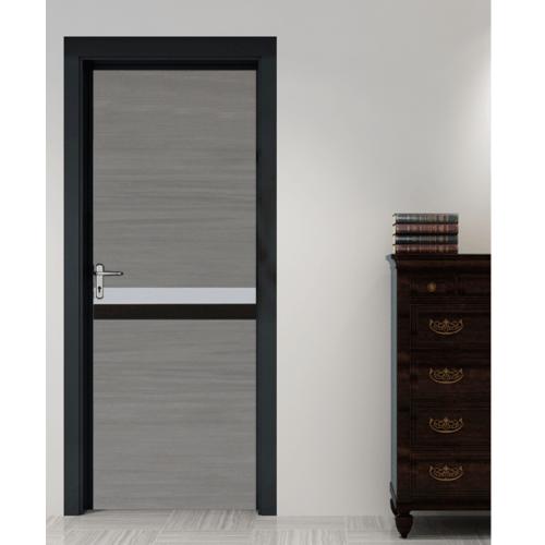 HOLZTUR ประตูเมลามีน เซาะร่อง ขนาด 80x200ซม. MD-MD16 สีเทาโอ๊ค-ขาว-ดำ