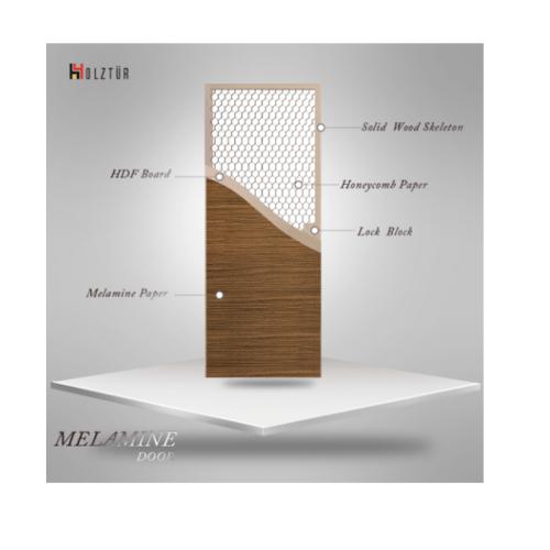 HOLZTUR ประตูเมลามีน บานทึบเรียบ ขนาด 80x200ซม. MD-MD34-2 สีสักทอง