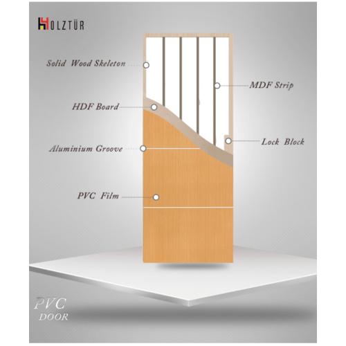 HOLZTUR ประตูปิดผิวพีวีซี เซาะร่องอลูมิเนียม ขนาด 80x200ซม.  PVC-F01-GA-1 สีโอ๊ค