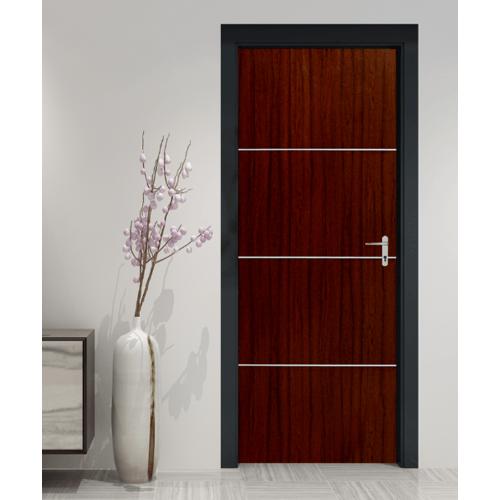HOLZTUR ประตูปิดผิวพีวีซี เซาะร่องอลูมิเนียม ขนาด 80x200ซม.  PVC-F01-GA-2  สีไม้สัก