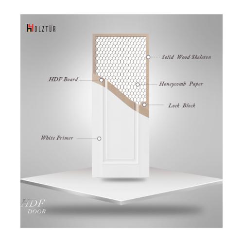 HOLZTUR ประตู HDF บานทึบลูกฟักเต็มบาน ขนาด 80x200ซม.  HDF-M10 สีขาว