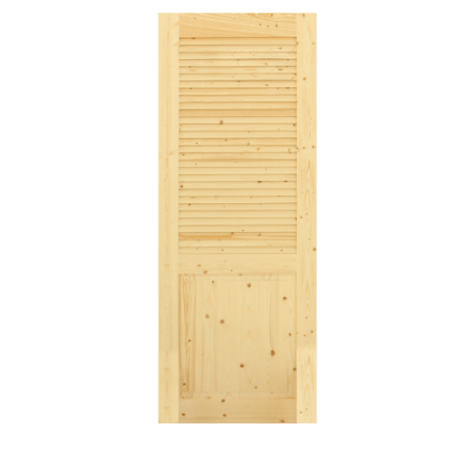 GREAT WOOD ประตูไม้สน ลูกฟักพร้อมเกล็ดครึ่งบาน ขนาด 70x200ซม.  PW-HLD