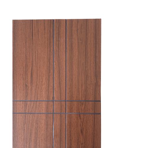 WELLINGTAN ประตู WPC บานทึบเซาะร่องดำ ขนาด 80x200ซม. สีไม้สัก (ไม่เจาะ) WPC-04