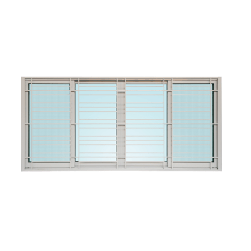 WELLINGTAN หน้าต่างอลูมิเนียมบานเลื่อน FSSF พร้อมเหล็กดัด ขนาด240x110ซม. ICWG2411-4P  สีขาว