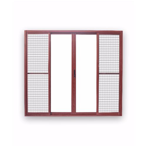 Wellingtan ประตูอลูมิเนียมบานเลื่อน FSSF ขนาด 240x210ซม. สีลายไม้แดง พร้อมมุ้ง RWCD2421-4P