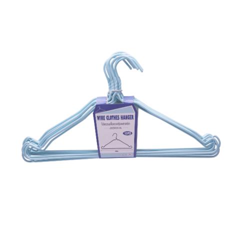 SAKU ไม้แขวนเสื้อลวดหุ้มพลาสติกแพ็ค10ชิ้น JMZM020-BL สีฟ้า
