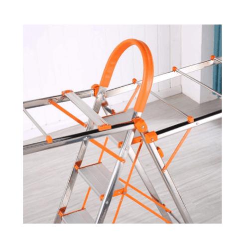 SAKU ราวตากผ้าบันไดอเนกประสงค์ 2 in 1  กางเป็นบันได 4 ขั้น  SY001-OG สีส้ม