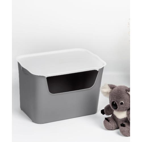 SAKU กล่องเก็บของพลาสติกมีฝา 18ลิตร ขนาด 39X26X25.5ซม. TG54443  สีเทา ฝาขาว