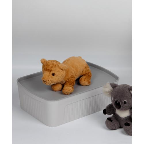 SAKU กล่องเก็บของพลาสติกมีฝา 16ลิตร ขนาด 45.5x31x14ซม. TG51282  สีชมพู ฝาเทา