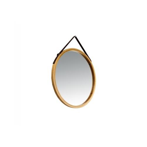 NICE กระจกเงากรอบไม้ สายหนัง แบบกลม  สีไม้ ขนาด  45cm.  SXX015
