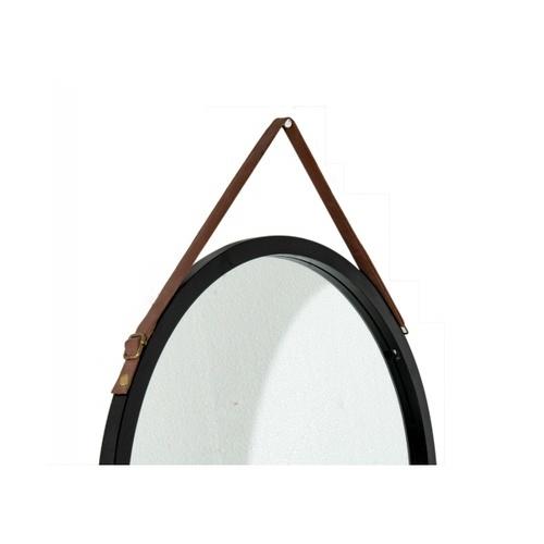 NICE กระจกเงากรอบไม้ สายหนัง แบบกลม 45cm. SXX014 สีดำ
