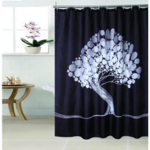 PRIMO ผ้าม่านห้องน้ำ (Polyester)  ZJ-2896 ลาย ต้นไม้เอน