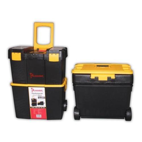 HUMMER กล่องเครื่องมือพลาสติก 2 in 1 มีล้อลาก  HL3042-O สีเหลือง