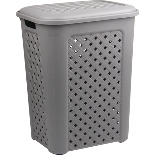 SAKU ตะกร้าผ้าพลาสติกมีฝา 50ลิตร ขนาด 43.5x33.5x55ซม. TG51952 สีเทา