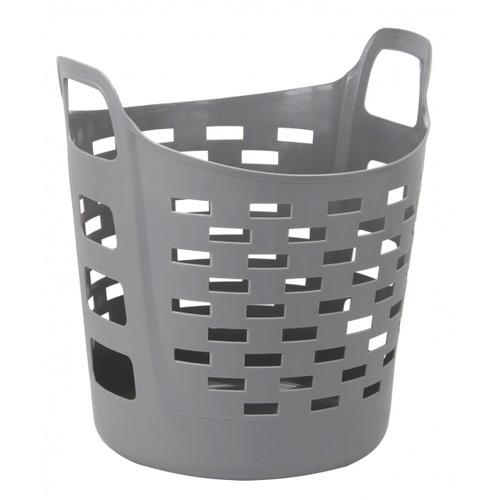 SAKU ตะกร้าผ้าพลาสติกมีหู 35ลิตร ขนาด 44x39x35ซม.  TG51945 สีเทา