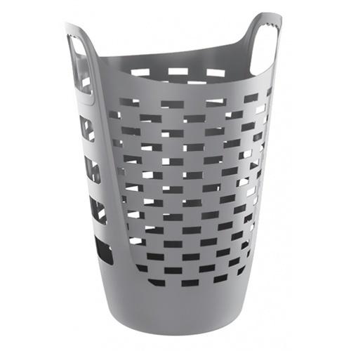 SAKU ตะกร้าผ้าพลาสติกมีหู 60ลิตร ขนาด 47x42x64.5ซม. TG51995 สีเทา