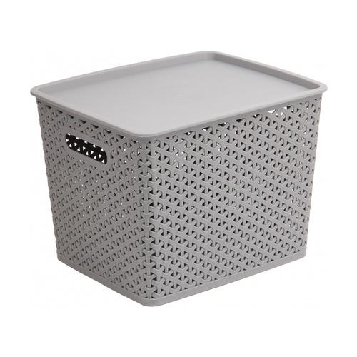 SAKU ตะกร้าพลาสติกมีฝา 18ลิตร ขนาด 36x30x22.5ซม. TG54363 สีเทา