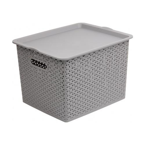 SAKU ตะกร้าพลาสติกมีฝา 35ลิตร ขนาด 42x36x25ซม. TG54723B สีเทา
