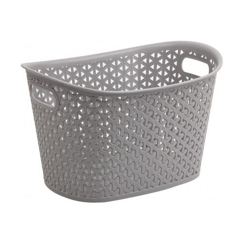 SAKU ตะกร้าพลาสติกมีหู 9ลิตร ขนาด 36x26x18.5ซม.  TG54738 สีเทา