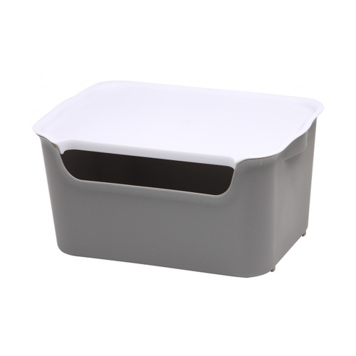 SAKU กล่องเก็บของพลาสติกมีฝา 11ลิตร ขนาด 39x26x16ซม. TG54442 สีเทา ฝาขาว