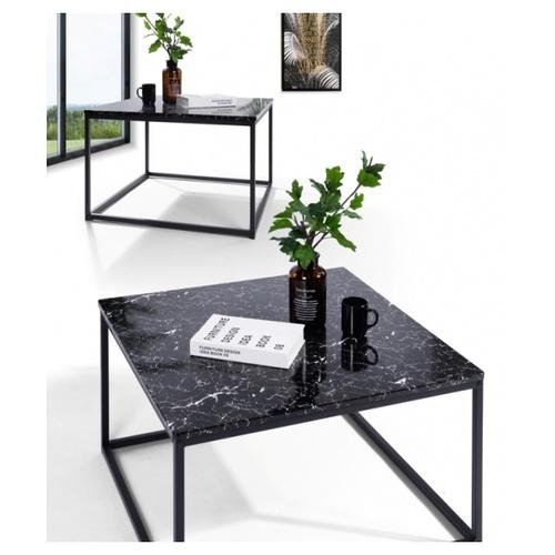 Delicato โต๊ะกาแฟ ขนาด 80x80x45ซม.  SURFDALE MARBLE สีดำ
