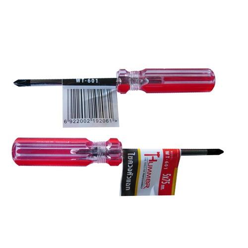 HUMMER ไขควงปากแฉกหัวแม่เหล็ก รุ่น WT-601 ขนาด5x75มม. WT-601 สีแดง
