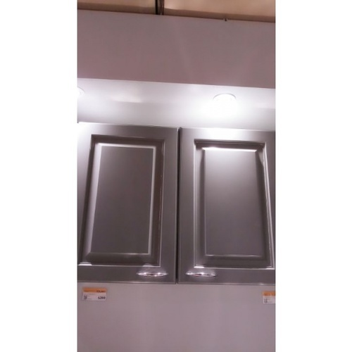 ตู้แขวนคู่ทึบตรง W608-W/G สีขาว-เทา MJ  เทา