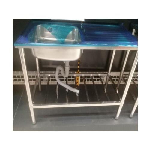 - ชุดเซ็ทอ่างล้างจาน 1 หลุม มีที่พัก พร้อมขาตั้งขนาด 1.0 เมตร.  D10050XL/WSF10050 (B)**แถมฟรี 8855090028791 ของแถม -CROWN ก๊อกอ่างล้างจานเคาน์เตอร์  **