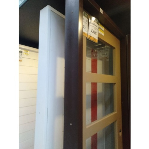 MJ วงกบประตูไม้จริง ขนาด 80x200 ซม. FR80-DB  สีน้ำตาล