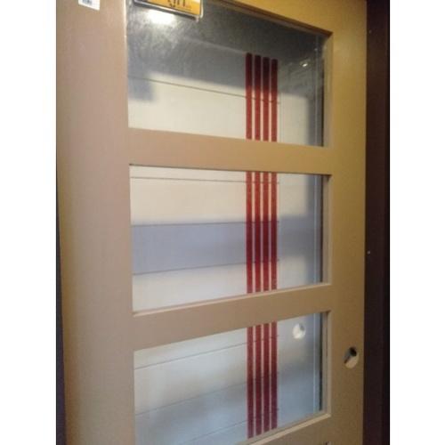 MJ ประตูกระจกไม้จริงสีคาปูชิโนขนาด 80x200 cm.  C80-CA