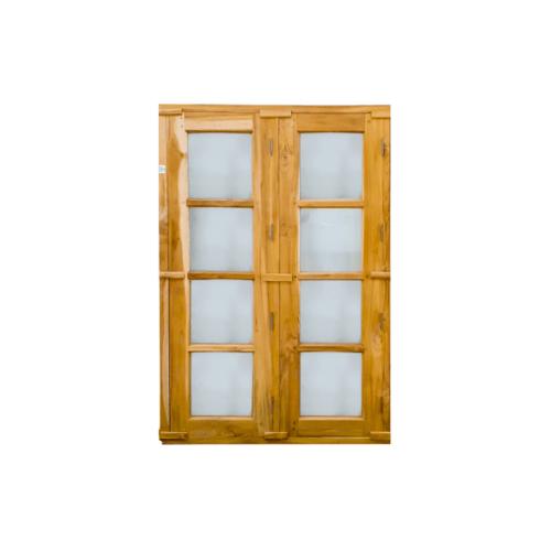 SJK ชุดหน้าต่างไม้สักสำเร็จรูป 2 บาน 45x165cm.  SJK004