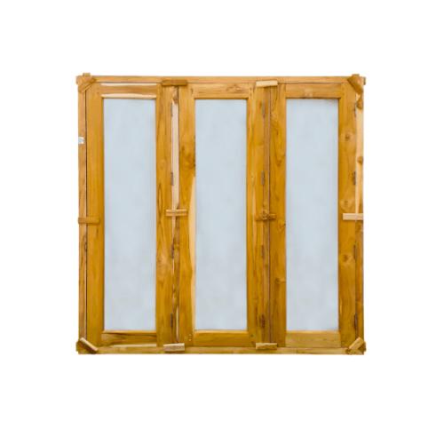 SJK ชุดหน้าต่างไม้สักสำเร็จรูป 3 บาน  45x165cm. SJK001