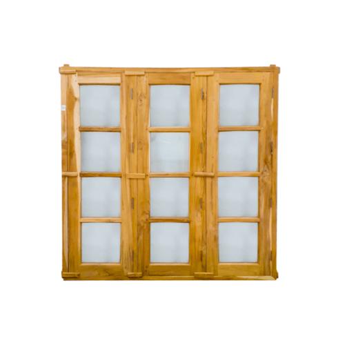 SJK ชุดหน้าต่างไม้สักสำเร็จรูป 3 บาน  45x165cm. SJK002