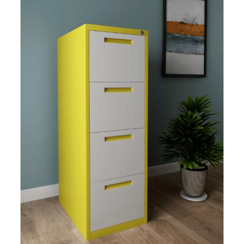 ULA ตู้ลิ้นชักเก็บเอกสาร 4 ชั้น 45.2x62x133.1ซม.  BDL12 ขาว-เหลือง