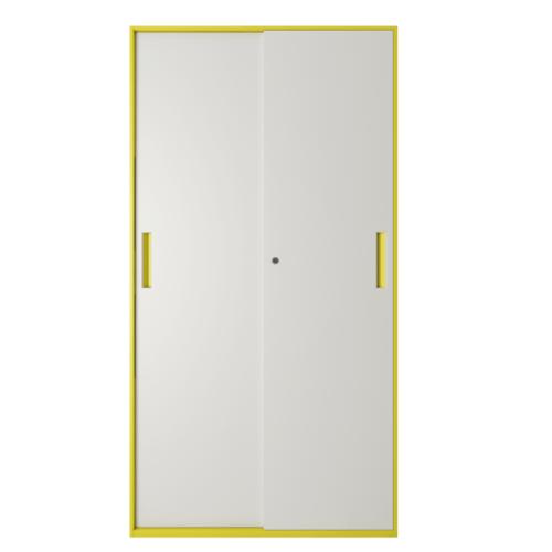 ULA ตู้เก็บเอกสารแบบทึบบานเลื่อน ขนาด  90x40x185ซม.  BDL14 ขาว-เหลือง