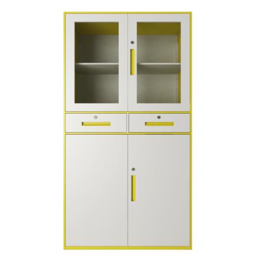 ULA ตู้เก็บเอกสารแบบกระจกและทึบบานเปิด 90x40x185ซม.  ขาว-เหลือง BDL18