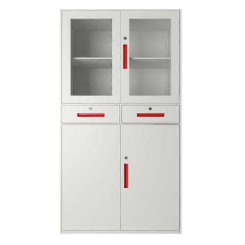 ULA ตู้เก็บเอกสารแบบกระจกและทึบบานเปิด 90x40x185ซม.ขาว-ส้ม  BDL18