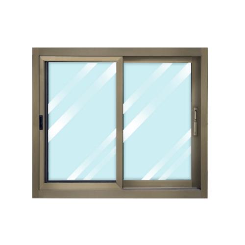 WELLINGTAN  หน้าต่างอลูมิเนียมบานเลื่อนสลับ พร้อมมุ้ง สีแชมเปญ CGW1210-2P