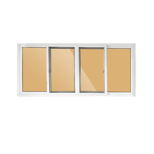 Wellingtan หน้าต่างบานเลื่อน 2 TONE 4 บาน 240x110cm (กxส)  BW3001 ขาว-น้ำตาล