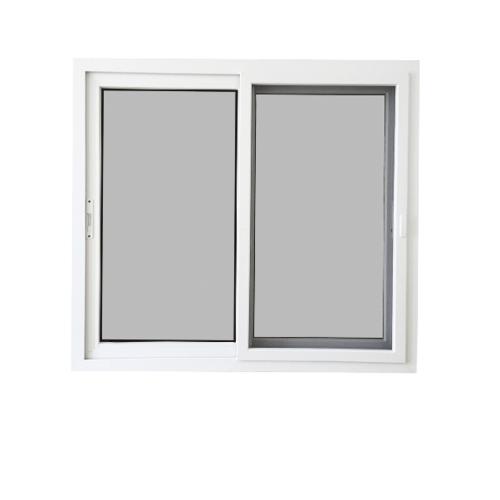Wellingtan หน้าต่างไวนิล บานเลื่อน ขนาด 120cm.x110cm.  SS (2-T) GYW1001 พร้อมมุ้ง สีขาวเทา