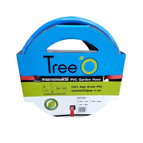 Tree O สายยางพีวีซี พร้อมข้อต่อสวมเร็ว ขนาด 5/8 นิ้ว x15เมตร 58-15CON สีน้ำเงิน