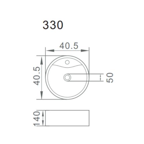 VERNO อ่างล้างหน้าวางบนเคาน์เตอร์  VN-330 สีขาว