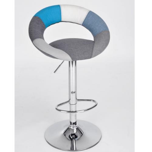 Delicato เก้าอี้บาร์หุ้มผ้า มีพนักพิง ROCKISLAND สีฟ้าเทา